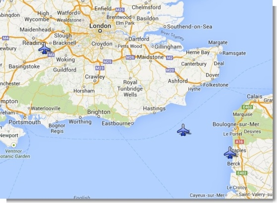 L'avion avait décollé de Blackbushe Airport dans la banlieue de Londres. Il volait en direction du Touquet lorsqu'il s'est abîmé en mer à environ 35 km de la côté française (Google Maps)