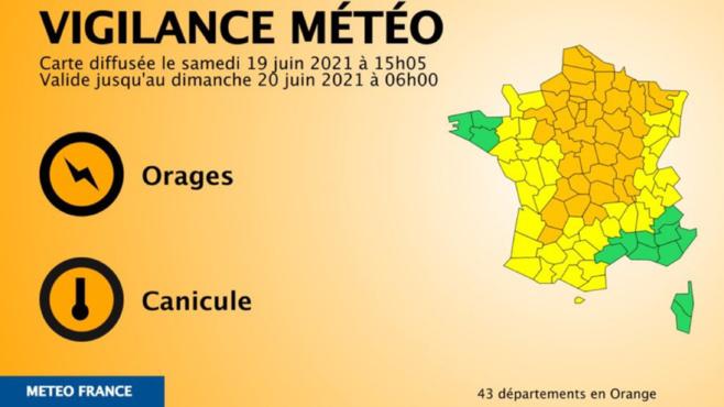 43 départements sont placés en vigilance orange «orages» dont la Seine-Maritime, l'Eure et l'Orne