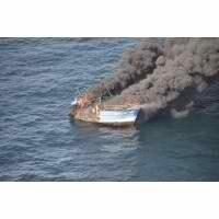 Un navire de pêche en feu au large de Fécamp