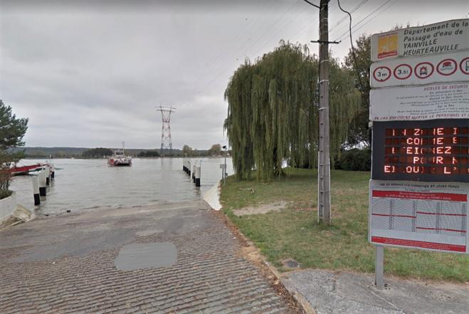 Une personne est tombée en Seine au nibveau du bac de Yainville - Illustration © Google Maps
