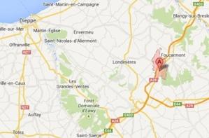 Le face-à-face s'est produit au niveau de la commune de Callengeville (@Google Maps)