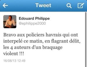Le maire du Havre a félicité les policiers sur son compte Twitter