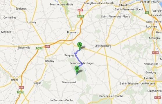 Le corps a été découvert en forêt de Beaumesnil (B), à une dizaine de kilomètres de Goupillières (A) où la quinquagénaire vivait  épisodiquement avec son compagnon (@Google Maps)