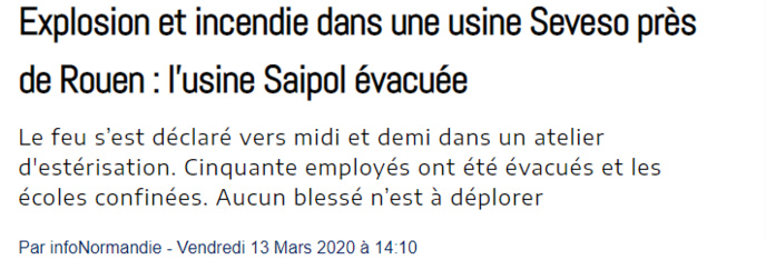Seine-Maritime : violent incendie sur le site Saipol à Grand-Couronne, près de Rouen