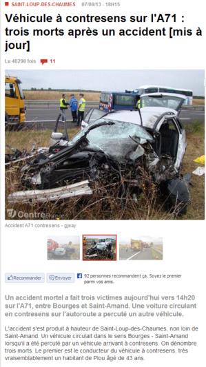 A contresens sur l'A71 : le chauffard qui a tué deux retraités de Barentin était ivre et sous stupéfiant