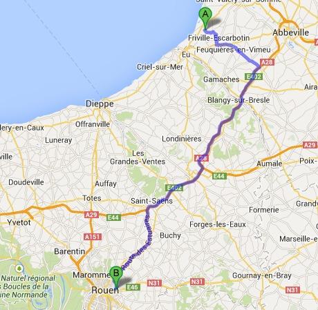 L'enquête va devoir déterminer à quel endroit l'automobiliste, qui habite à  Woignarue, dans la Somme (A) est entré sur l'autoroute qui l'a conduit à Rouen (B).
