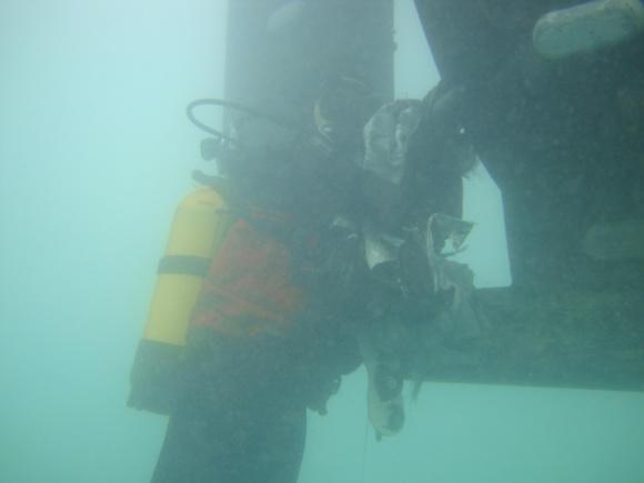 Les plongeurs de la gendarmerie maritime ont libéré l'hélice de la bâche en plastique qui l'entravait (Photo Gendarmerie maritime)
