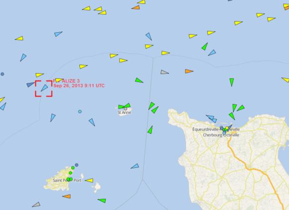 L'Alizé3 est actuellement dans cette zone de pêche au nord-ouest de la Hague