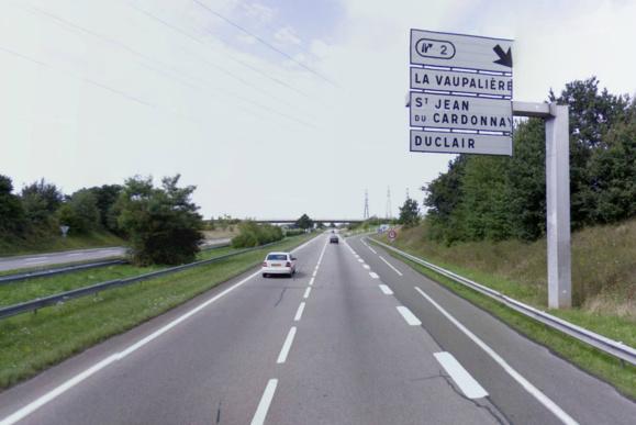 Le mini-carambolage s'est produit sur cette portion de l'A150 un peu après la bretelle de sortie de La Vaupalière en direction de Roumare/Barentin (Photo d'illustration @Google Maps)