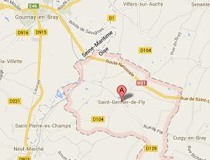 Saint-Germer-de-Fly (Oise) est situé à moins de dix kilomètres de Gournay-en-Bray, en Seine-Maritime.