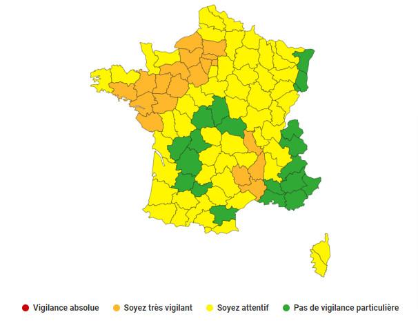 22 départements sont placés en en orange et 54 départements en jaune et l'Andorre - Document © Météo-France