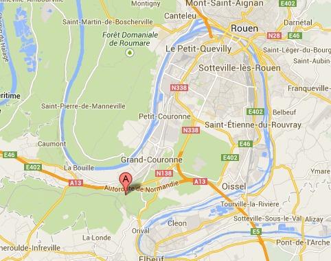 Le cadavre a été découvert par des cueilleurs de champignons à une centaine de mètres du premier chemin (@Google Maps)