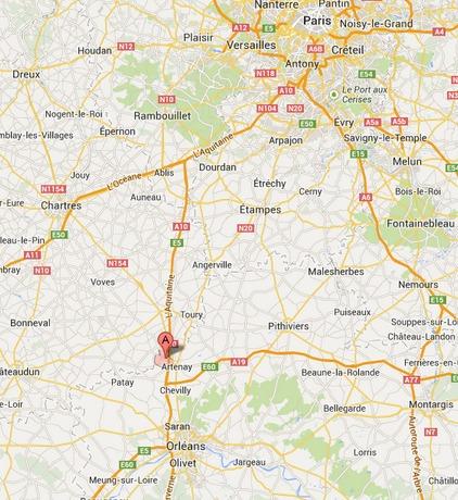 Des déviations sont mises en place de part et d'autres de l'accident à partir de Poupry, entre Orléans et Paris