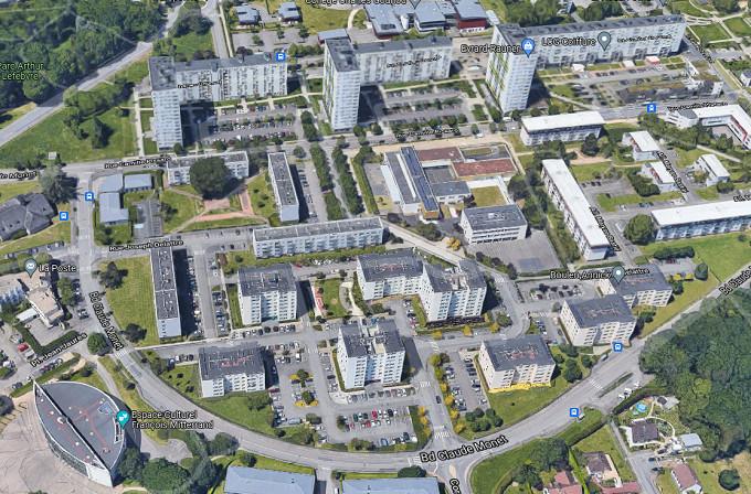 L'équipe de M6 tournait des images dans la principale cité de Canteleu pour illustrer son reportage lorsqu'elle a été agressée par une quinzaine de jeunes - Illustration © Google Maps