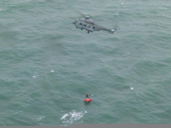 Photo réalisée depuis l'hélicoptère Dauphin du pilotage du port du Havre