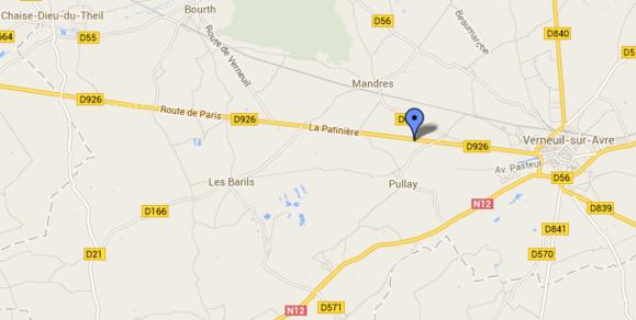 Le drame est survenu à hauteur de la commune du Pullay à quelques kilomètres de Verneuil-sur-Avre (@Google Maps)