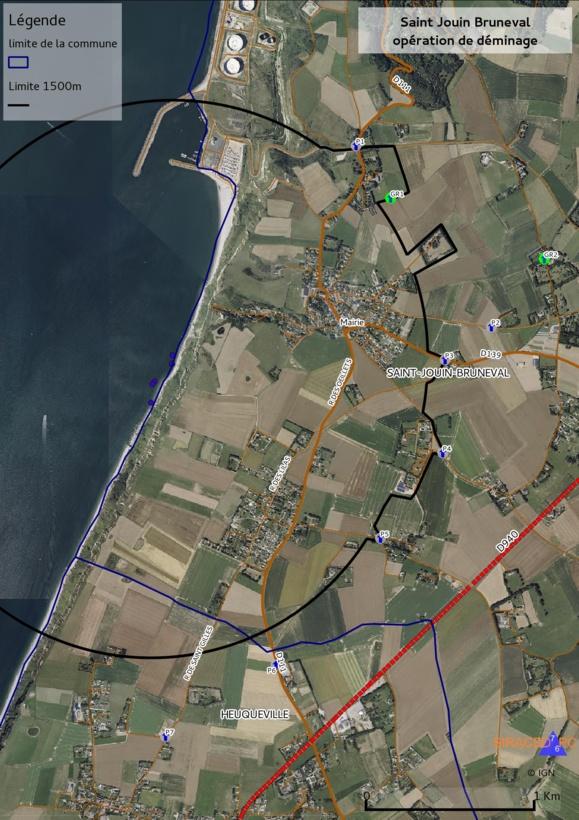 Un périmètre de sécurité de 1500 mètres sera mis en place autour du bloc côtier à détruire (Document sous-préfecture du Havre)
