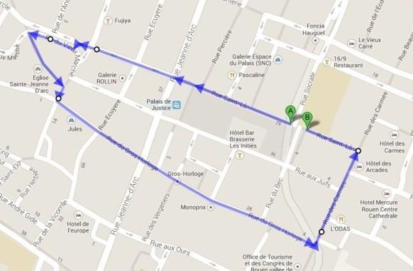 Le départ (A) et l'arrivée (B) auront lieu rue Saint-Lô, à l'angle de la rue Socrate, à Rouen (document Club Photo Rouen52)