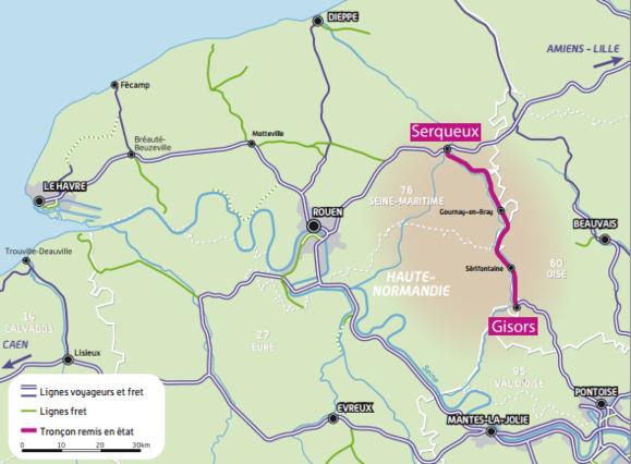 Le train permettra d'aller de Serqueux à Gisors en 38mn, contre 1h09mn en bus actuellement