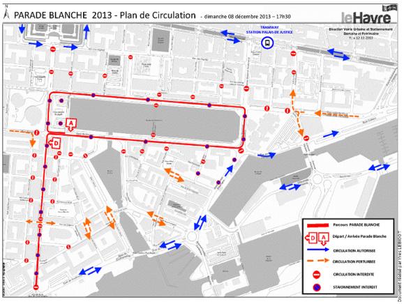 Le parcours de la Parade blanche et le plan de circulation mis en place à cette occasion, dimanche 8 décembre