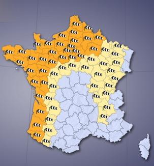 Toute la partie Nord-Ouest de la France est placée en vigilance orange (document : Météoconsult)