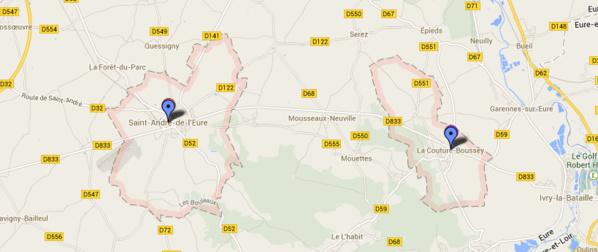 Les deux communes sont situées en bordure de la D833 à moins de 10 kilomètres l'une de l'autre (@Google Maps)