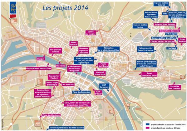 La carte des voeux et projets présentée par le maire de Rouen, Yvon Robert (cliquez sur la carte pour l'agrandir)