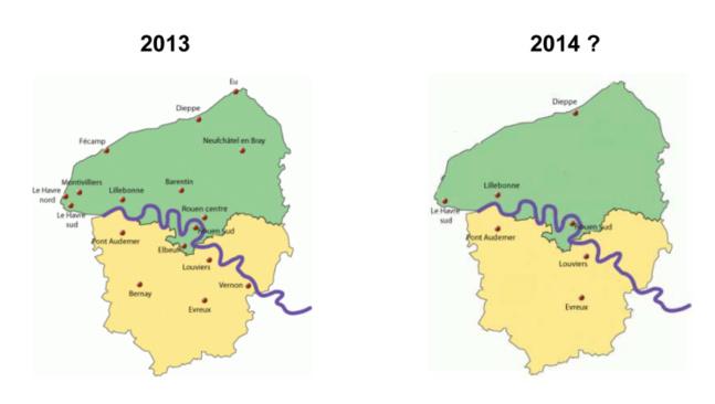 La carte des implantations de CIO en Haute-Normandie : avant et après