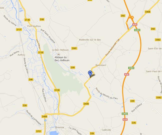 Le camion-citerne s'est renversé à hauteur du ruisseau Le Bec à quelques kilomètres de Bosrobert. Il est fortemlent conseillé aux usagers d'éviter ce secteur ce matin (@Google Maps)