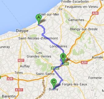 Les gendarmes ont la conviction que c'est la même équipe de cambrioleurs qui a sévi à Saint-Martin-en-Campagne (A), Neufchâtel-en-Bray (B) et à Buchy (C)