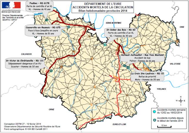 Sur ce document de la préfecture, sont répertoriés les accidents mortels dans l'Eure depuis le début de l'année (Cliquez sur la carte pour l'agrandir)