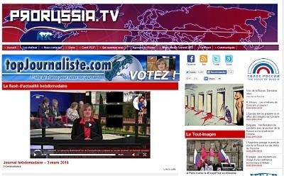 La home page du site ProRussia.TV (capture d'écran)