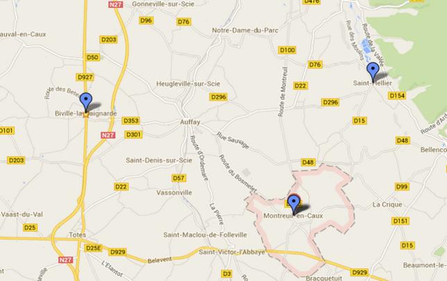 Les trois cambriolages ont été commis dans un même périmètre, autour d'Auffay @Google Maps