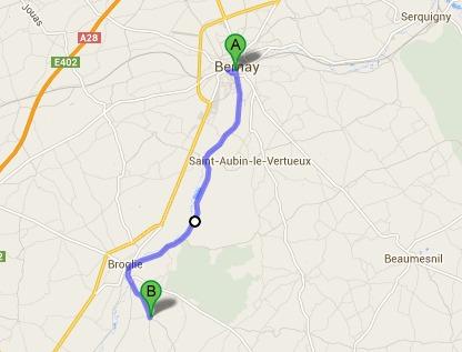 Le jeune homme a parcouru plus de 14 km à pied entre Bernay et Chamblac @Google Maps