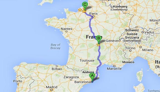 L'autocar des collégiens rouennais devenait d'un voyage à Barcelone (A). Il s'est alors qu'il s'était arrêté à Clermont-Ferrand (B) pour changer de conducteur qu'il a été caillassé. Il a pu reprendre sa route en direction de Rouen (C) dans la nuit