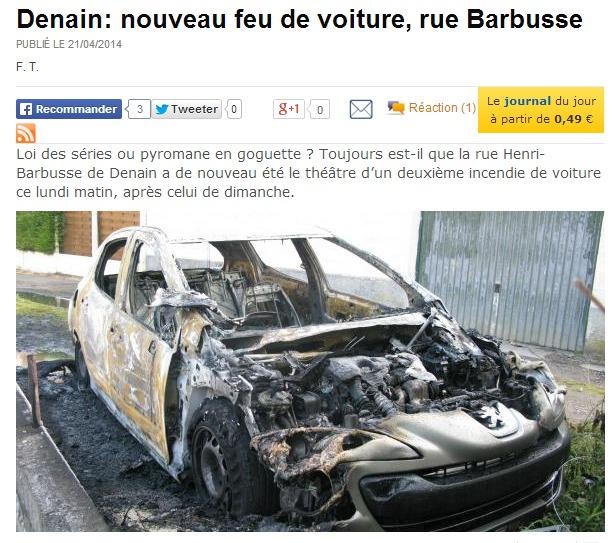 La 308 HDI du couple de Pacy-sur-Eure a été entièrement calcinée (capture d'écran du site La Voix du Nord)