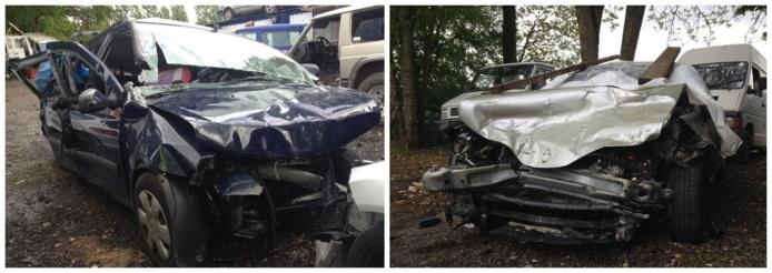 Le choc a été d'une extrême violence à voir l'état de la Dacia (à gauche) et de la Laguna. Les deux véhicules ont été pris en charge par la société Top Garage de Pacy-sur-Eure (@infoNormandie)