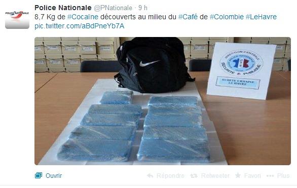 La Police nationale a révélé cette saisie sur son compte Twitter (capture d'écran @infoNormandie)