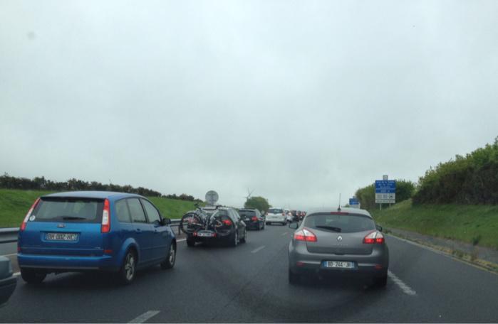 Bouchon sur l'A84 entre Caen et Rennes à cause d'un accident