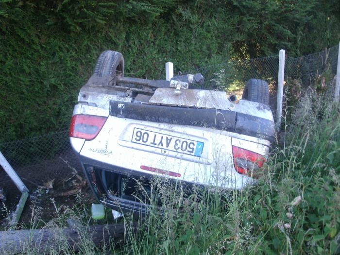 La Citroën s'est retournée dans le fossé après avoir percuté le pylône électrique (Photos DR)