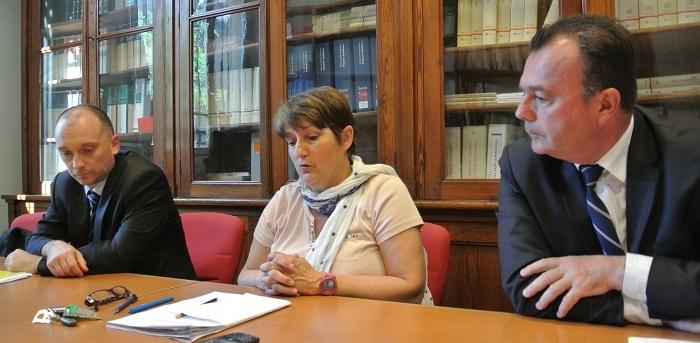 Dominique Laurens, procureure de la République, entourée de son adjoint Yves Dupas et de Jean-Michel Bolusset, directeur par intérim du SRPJ de Rouen (à gauche sur la photo)