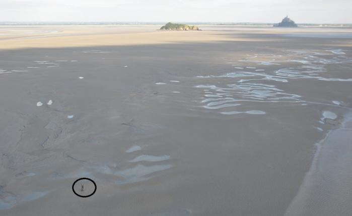 Photo prise depuis l'hélicoptère de la Marine nationale alors que la marée commence à monter. Dans le cercle noir, on aperçoit le jeune homme qui semble attendre