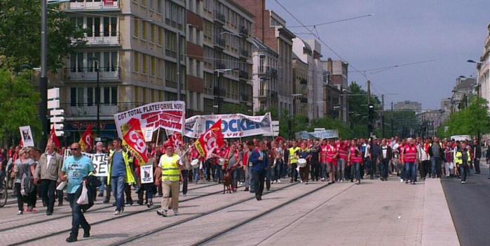 Selon la CGT, ils étaient 4000 manifestants à défiler ce jeudi matin dans les rues du Havre (Photo CGT Le Havre sur Twitter)