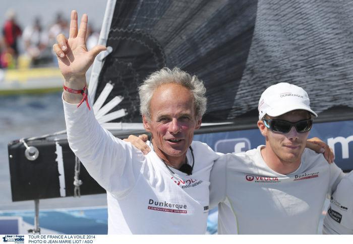 Le sourire de la victoire pour le skipper breton Daniel Souben et son équipage de Courrier Dunkerque 3