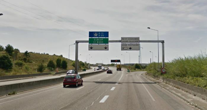 La Renault Clio arrivait à contresens lorsqu'elle a percuté violemment une Seat Léone qui se dirigeait vers l'A 13. Le drame s'est produit à hauteur de la bretelle de sortie de Petit-Couronne (Photo d'illustration Google Maps)