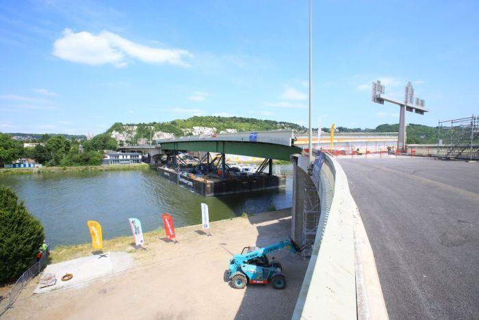 Le pont Mathilde est resté fermé près de 22 mois à la suite de l'incendie qui l'a endommagé. Sa remise en état a été réalisée dans les temps (Photo : seinemaritime.fr)