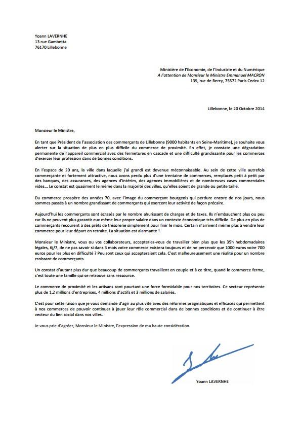 Cliquez ici pour agrandir le texte de la lettre envoyée au ministre Emmanuel Macron