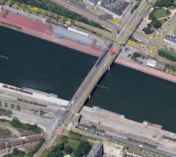 Il sera difficile de circuler la nuit aux abords du pont Guillaume Le Conquérant entre lundi 3 et vendredi 7 novembre. Qu'on se le dise  (@Google Maps)