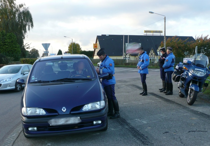 Photo d'illustration d'un contrôle routier mis en place par la gendarmerie de Seine-Maritime
