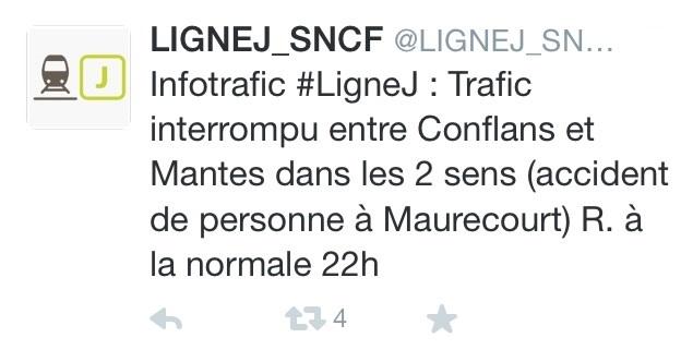 La SNCF a publié sur son compte Twitter un message pour signaler l'accident